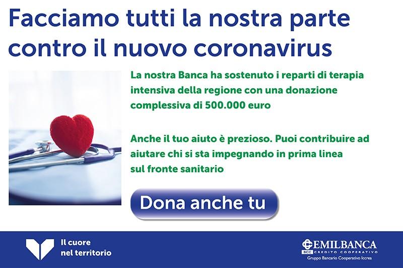 Banner coronavirus donazioni mobile